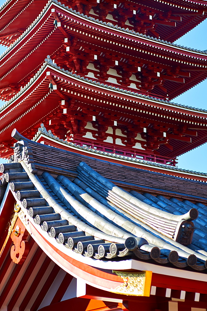 Sensoji Temple Pagoda (Asakusa Kannon Temple), the oldest temple in Tokyo, Japan, Asia - 851-835