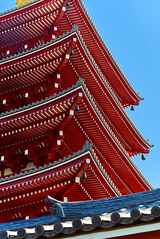 Sensoji Temple Pagoda (Asakusa Kannon Temple), the oldest temple in Tokyo, Japan, Asia - 851-836