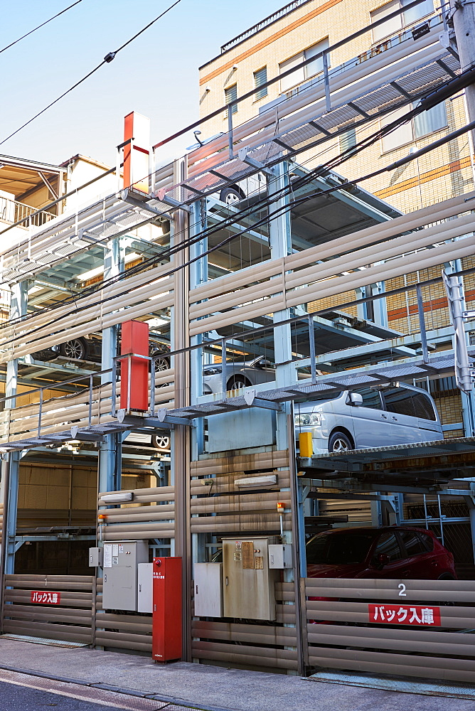 Car parking with elevator for cars, Tokyo, Japan, Asia