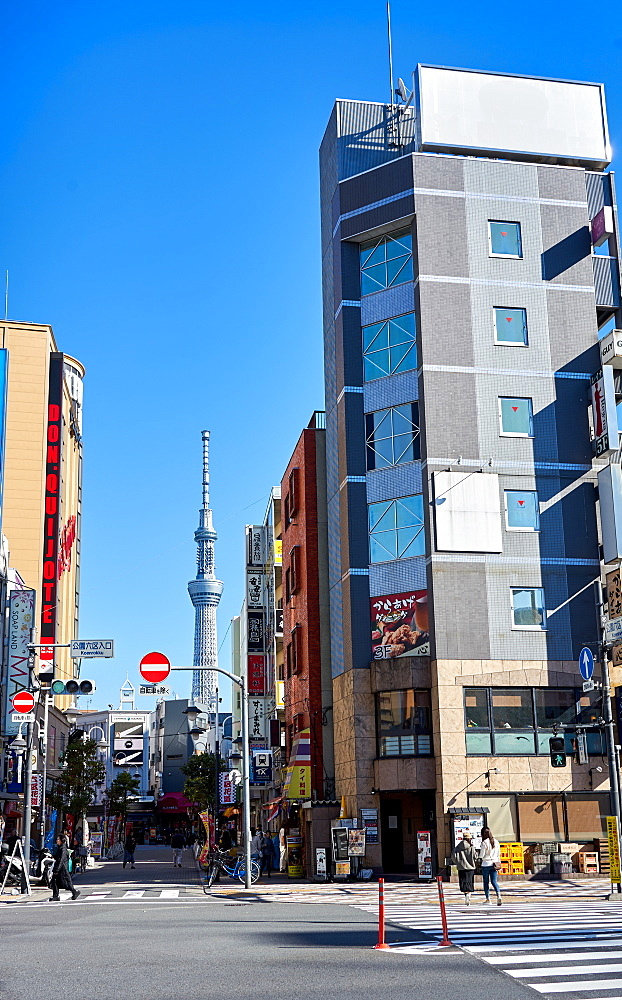 Tokyo street scene with the Sky Tree Tower in background, Tokyo, Japan, Asia - 851-842