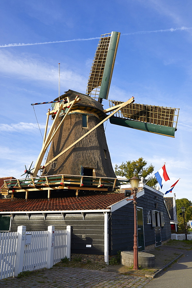 The old windmill Krijtmolen d???Admiraal dating from 1792 in Amsterdam Noord, Amsterdam, Netherlands. - 851-888