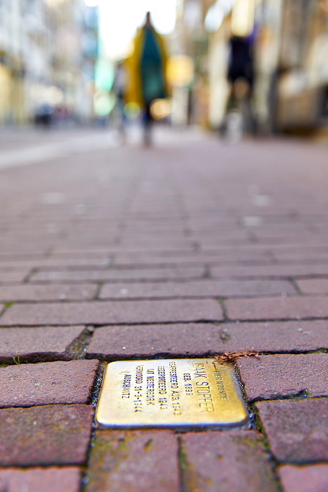 Stumbling Stones (Stolpersteine), Holocaust memorial plaques in front of the victims last home, Nieuwe Hoogstraat, Amsterdam, North Holland, The Netherlands, Europe - 851-925
