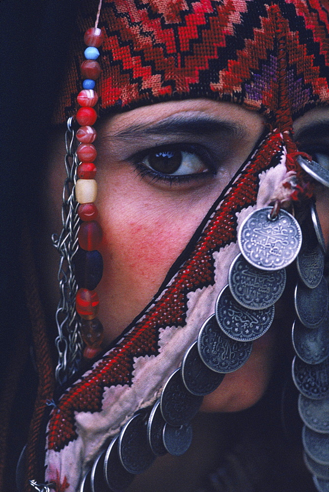 Jordan: Palestinians are proud to model and wear traditional finery a symbol of their national identity. Costume from the collection of Waddad Kawar of Amman, Jordan.