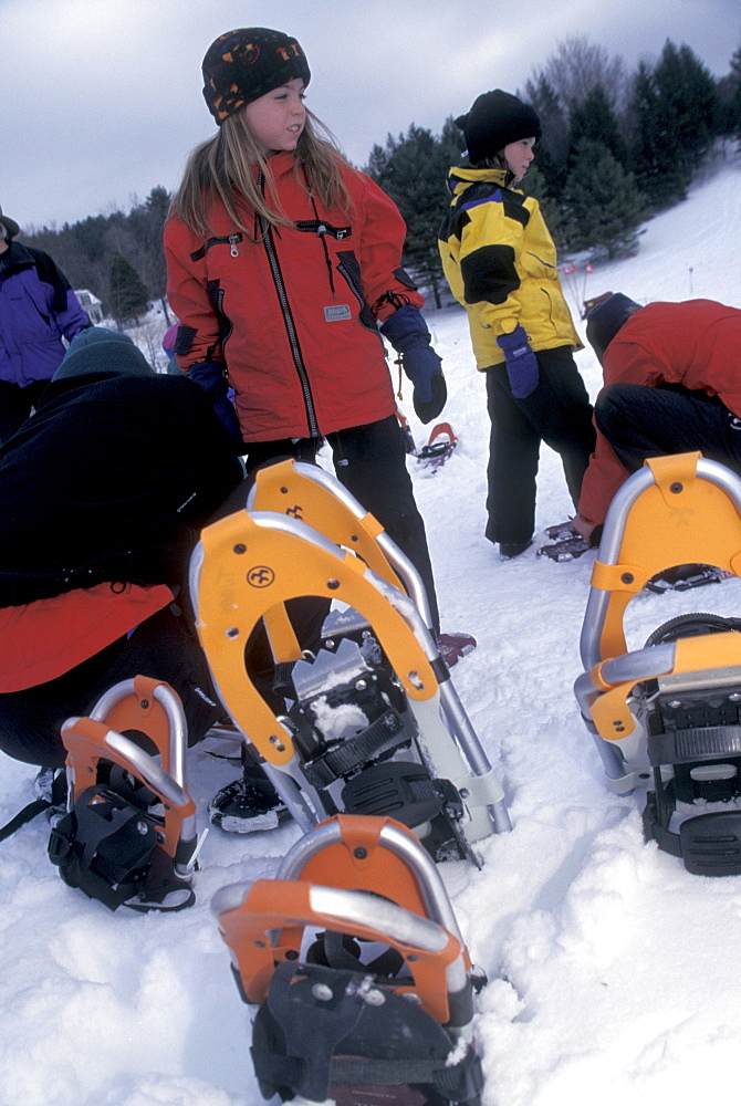 Young snowshoers before a race at Stowe, Vermont.