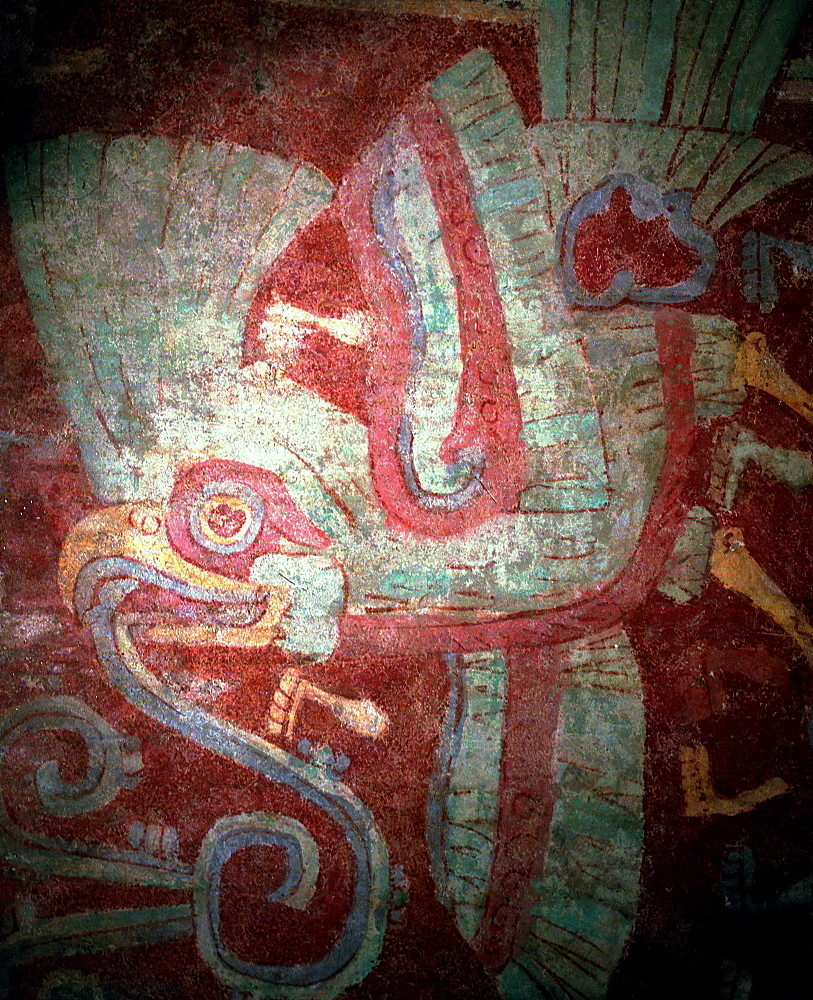 Ancient original murals from pre-hispanic (Olmec, Maya, Aztec) city of Teotihuacan. Existed 100AD, 700AD.