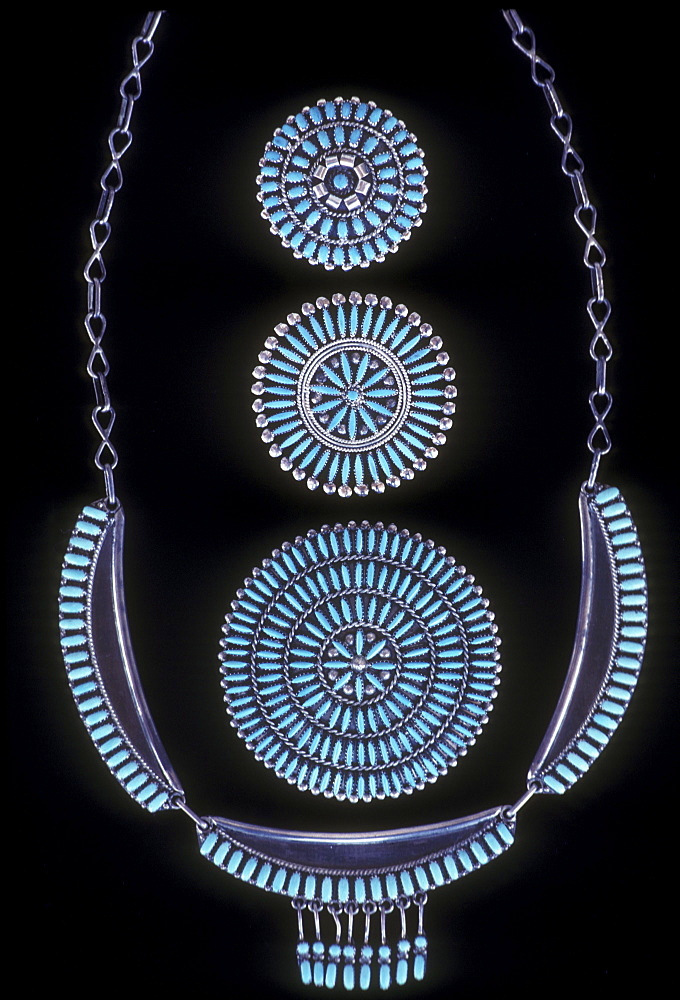Turquoise necklace and pins, Santa Fe, New Mexico