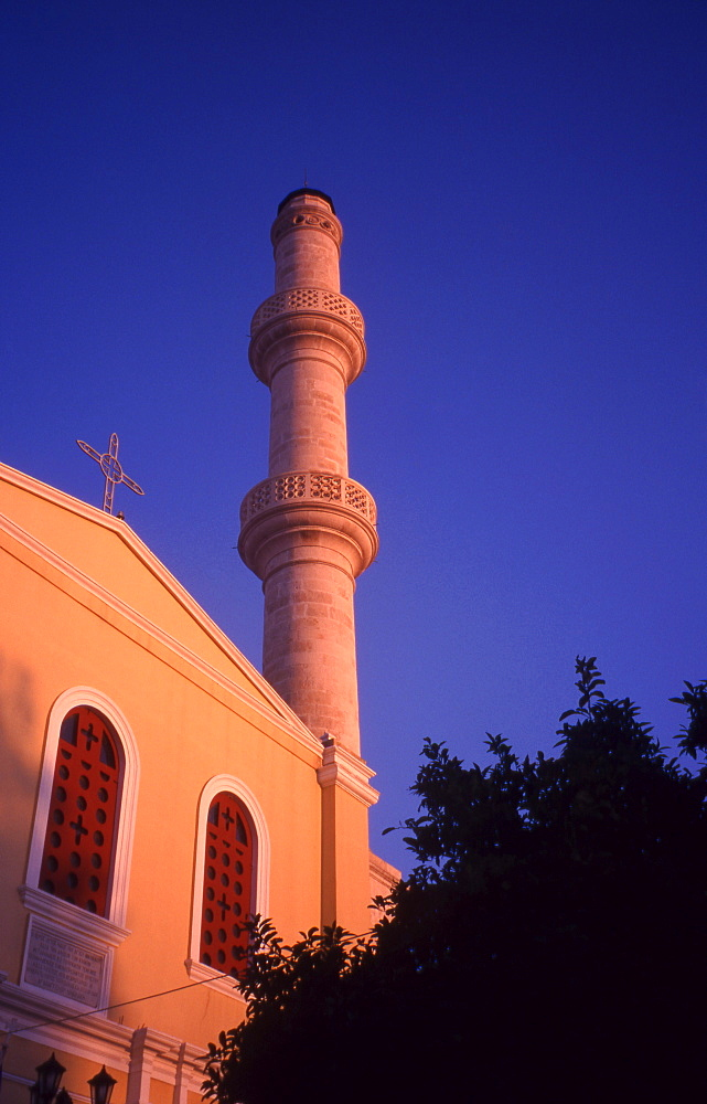 Greece. Western Crete. Turkish Mosque and Dominican Monastery of St Nicholas. Splantzia district of Chania Old Town.