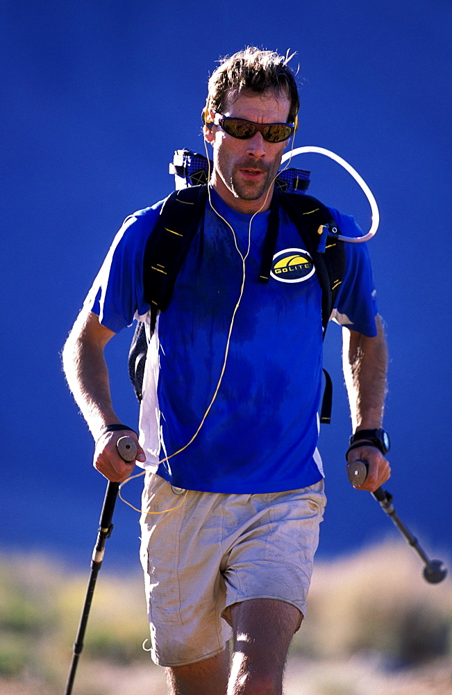 Russ McBride, all geared up for endurance training in the Buttermilks outside of Bishop, california