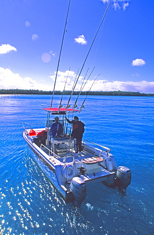 A sport fishing boat in the lagoon on Midway Atoll, Hawaii.