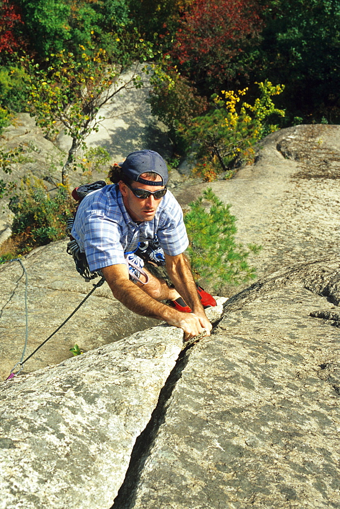Male rock climber at Cathedral Ledge, New Hampshire.