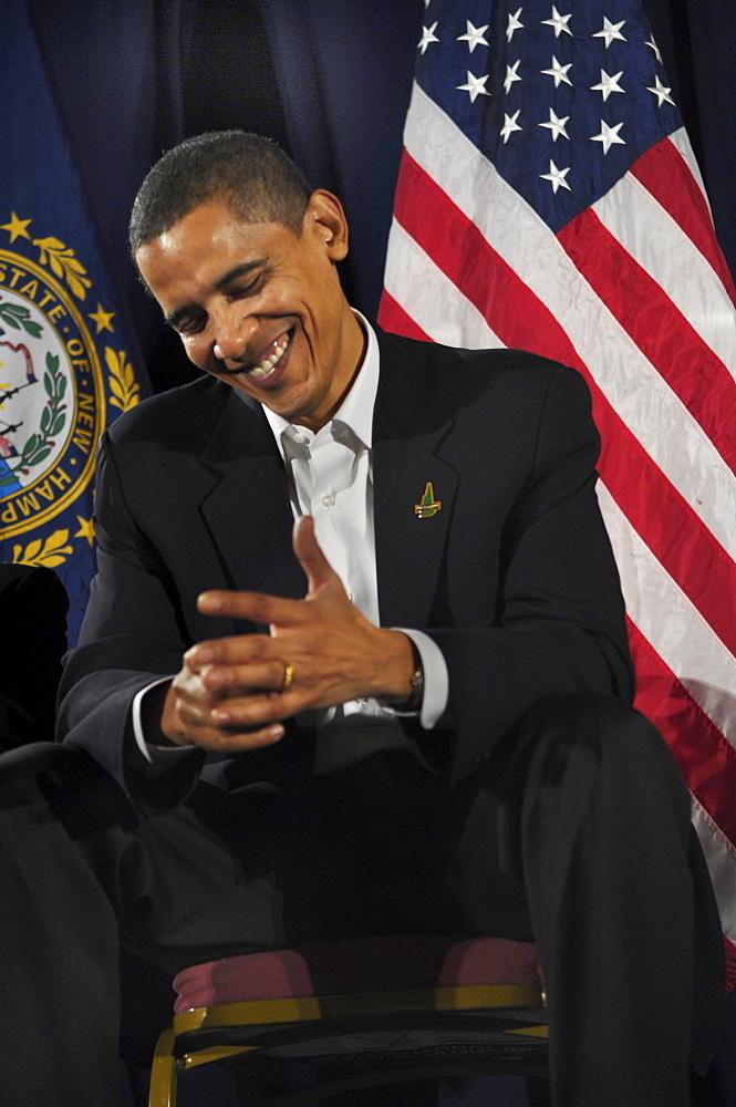 Senator Barack Obama at a political rally in Manchester, New Hampshire.