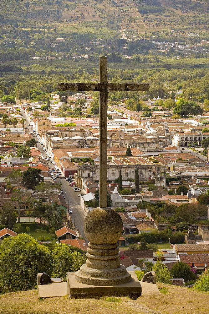 A cross on a hillside overlooking, Antigua, Guatemala