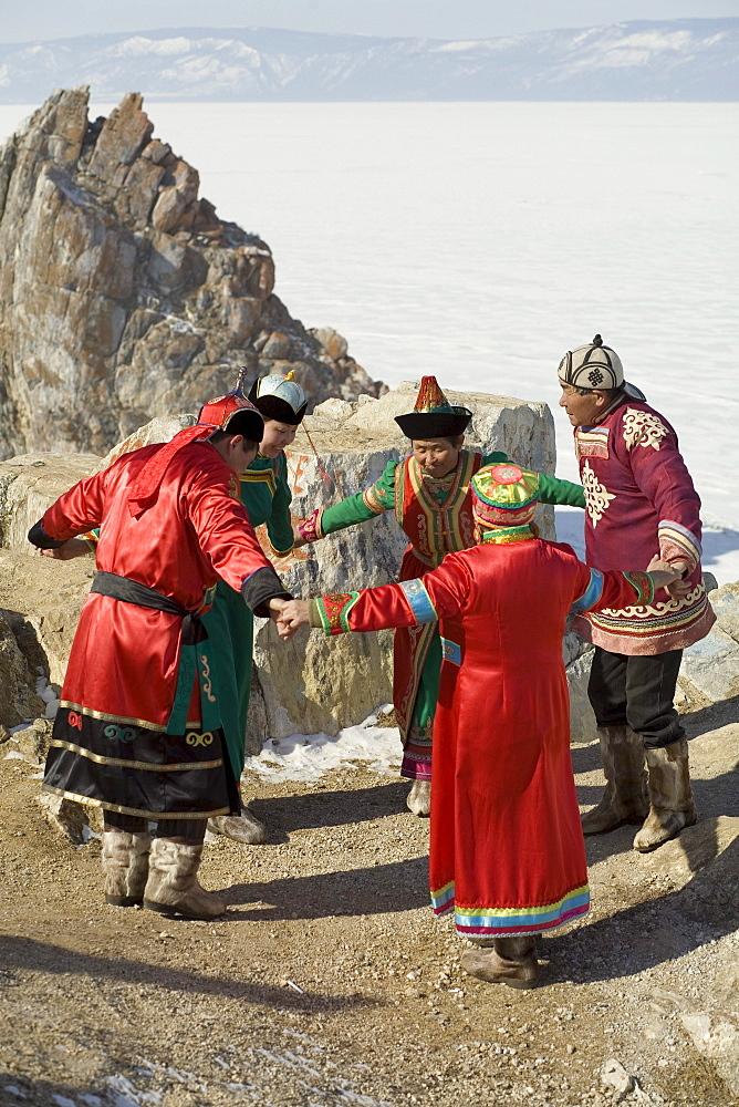 A local traditional Buryat wedding ceremony on Olkhon Island, Siberia, Russia.