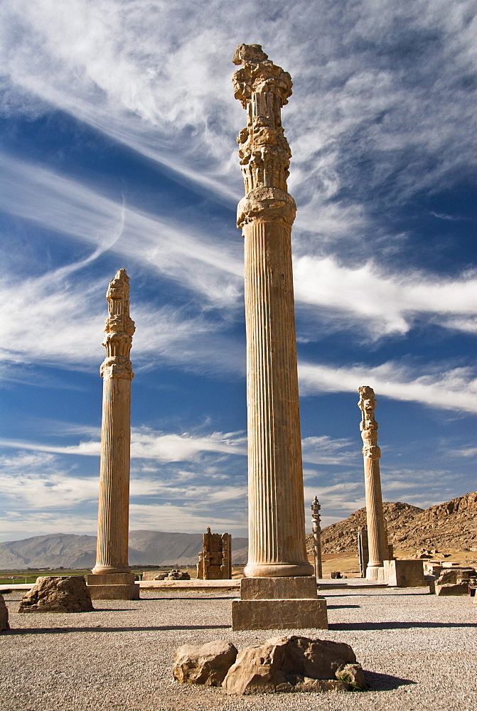 Standing columns at the ruins of Persepolis, Shiraz, Iran