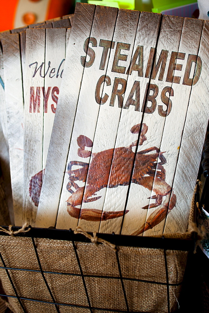 "ROCKPORT, TEXAS, USA. A detail image of a sign that says ""Steamed Crabs"" - 857-48512"