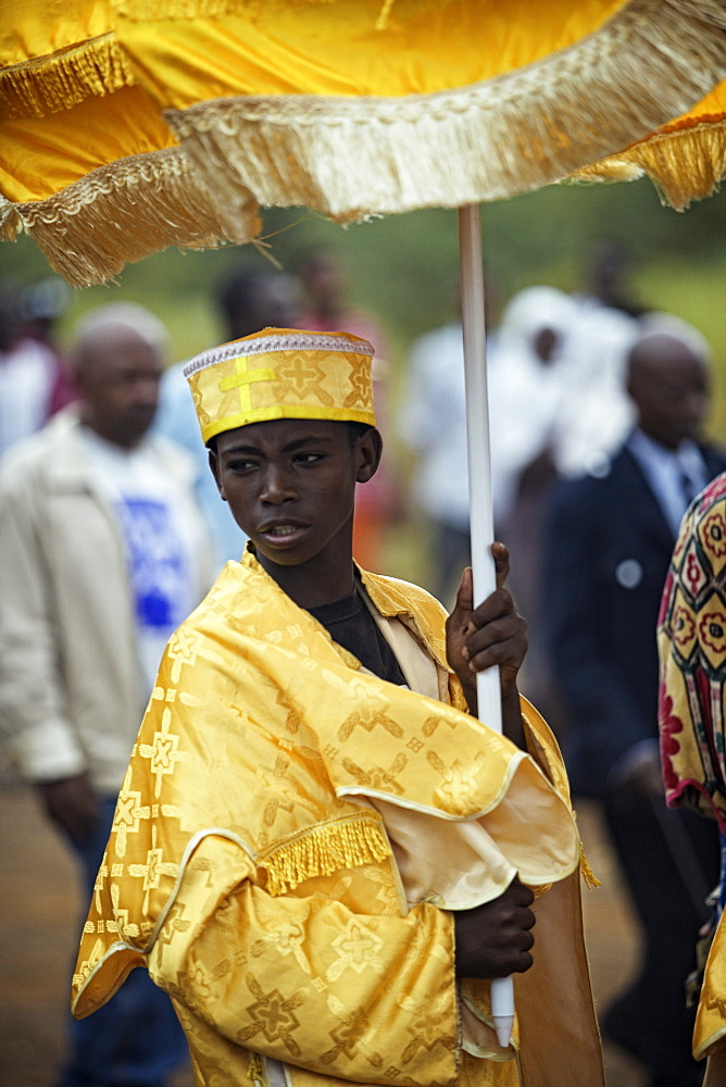 One of the most important Orthodox holidays in Ethiopia is Timkat. It is a three day celebration. It reminds the people of John the Baptists blessing of Christ in the River Jordan. Salamago district, South Ethiopia, Omo Valley, 2010 - 857-48626