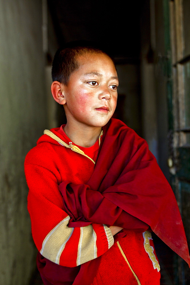 India, Jammu and Kashmir, Ladakh. A portrait of a novice monk of The Drukpa Kagyud Primary School. The school is part of Hemis Buddhist Monastery located 45 kilometers from Leh in Ladakh, Northern India.