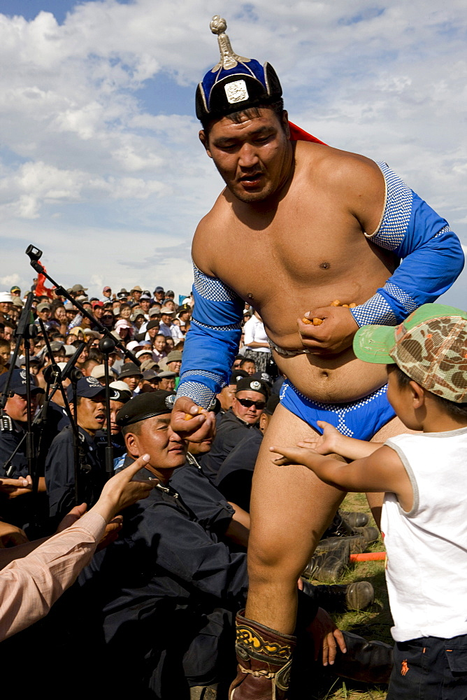 Wrestlers are a part of the wrestling championship at the Naadam festival in Mongolia.