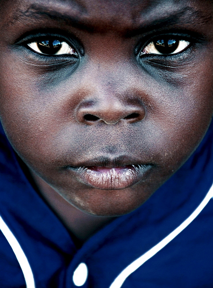 A portrait of a young child from Mozambique Island, Mozambique.