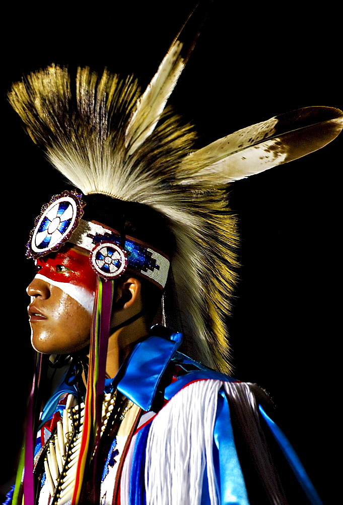 Portrait of a Native American man at a powwow in Mesa Verde, Colorado.