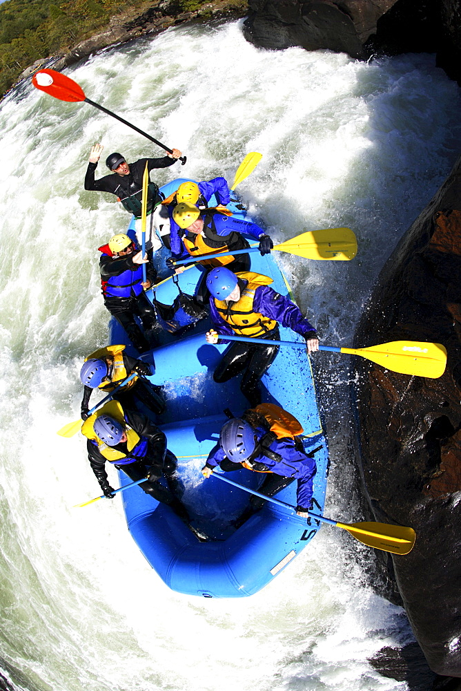 Unknown rafters roll through the infamous Pillow Rock rapid on the Upper Gauley River near Fayetteville, WV