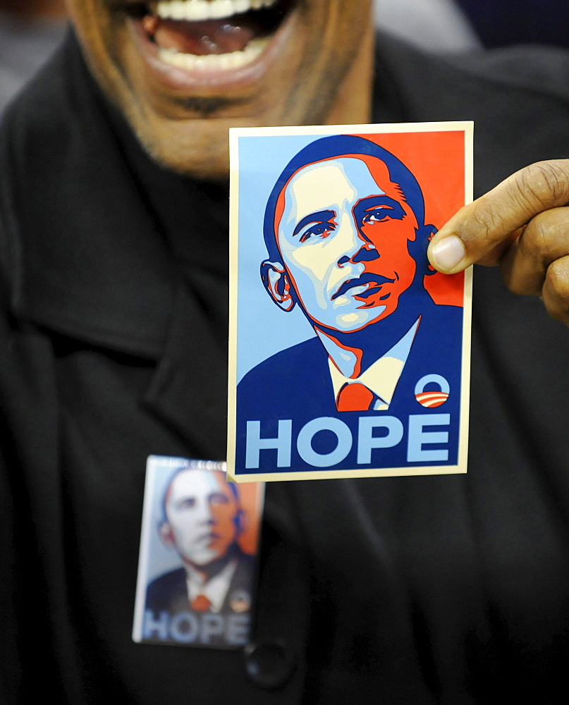 A supporter of Barack Obama attending a speech at the University of Pittsburgh the night before the PA primary.