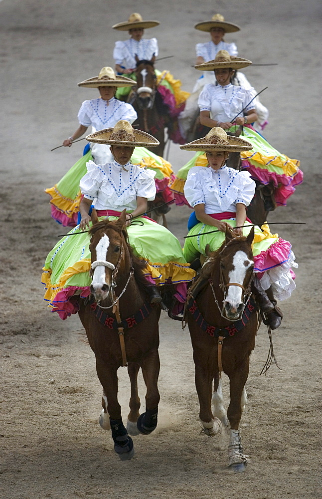 "Members of the El Herradero team compete in an Escaramuza in Mexico City, Sunday, February 10, 2008.  Escaramuzas are similar to US rodeos, where female competitors called ""Amazonas"" wear long skirts, and ride side saddle.  Male rodeo competitors are ""Cha"