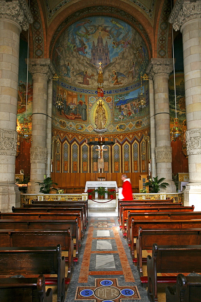 The alter at the Temple of the Sacred Heart of Jesus in Barcelona, Spain.