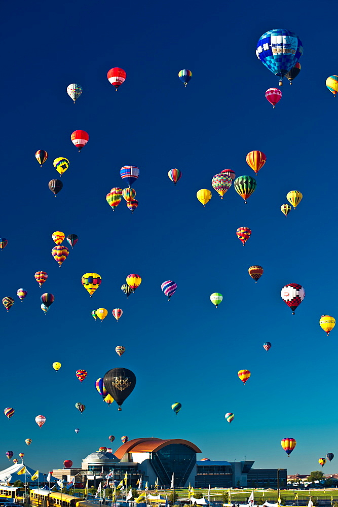 Colorful balloons fill the sky at the Hot Air Balloon Festival in Albuquerque, NM.