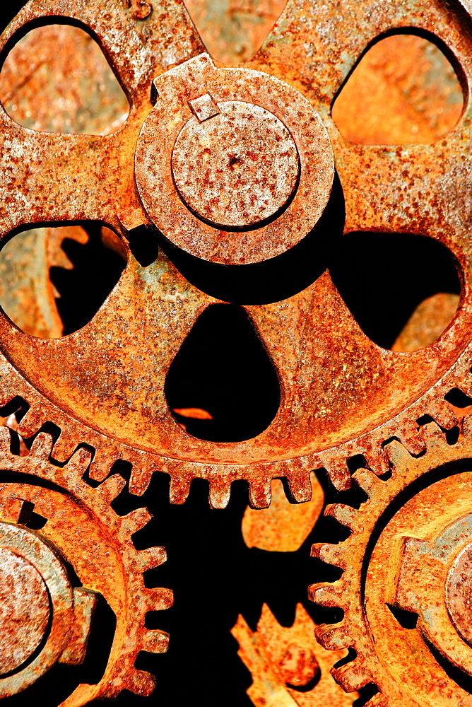 Close up of old rusted gears.