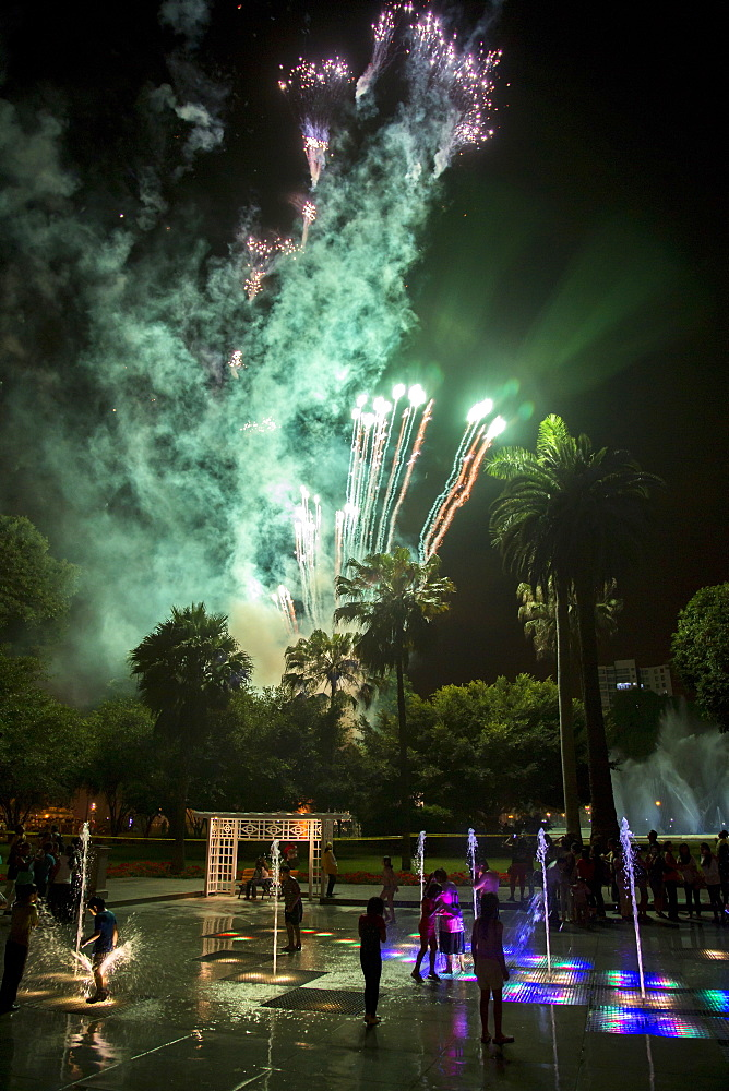 Fireworks at Reserva Park in Lima, Peru.