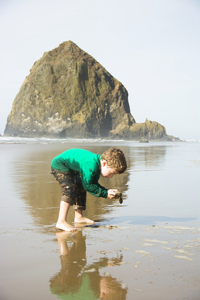 Toddler boy looking for treasures in front of Haystack Rock on Cannon Beach, Oregon.