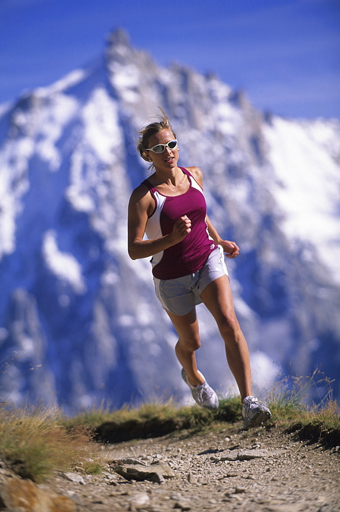 Barbara Zwerger trail running at the Brevent, Chamonix, France, France