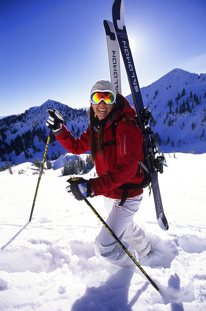 Katie Shackelford ski touring in Snowbird, Utah, United States of America