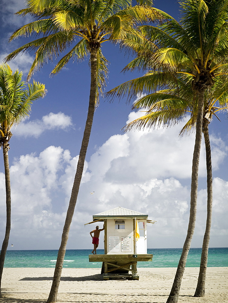 Safety stations on the beach in Hollywood, Florida, United States of America