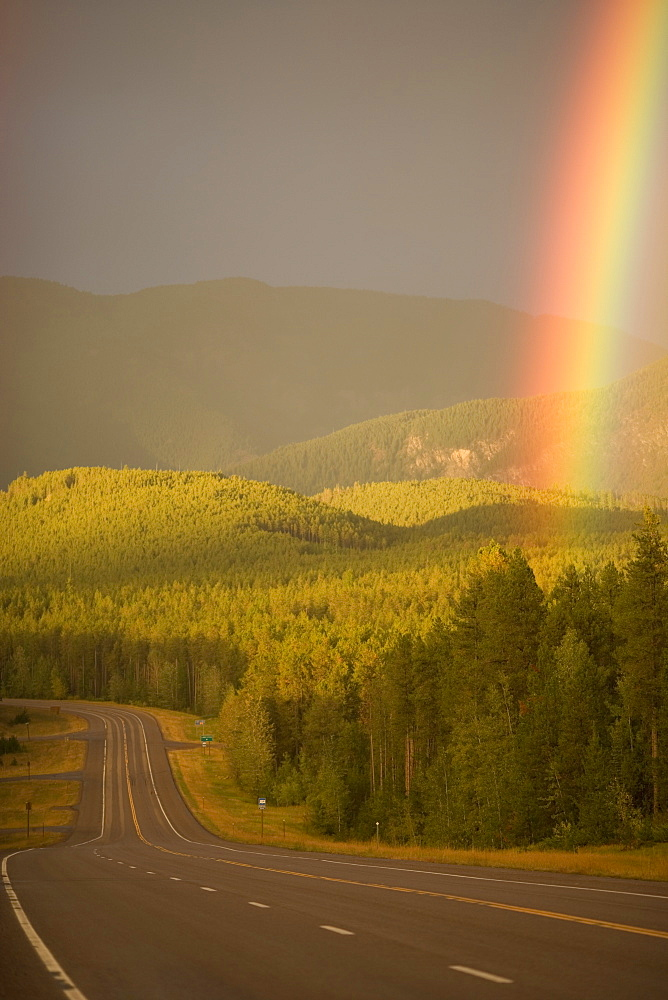 Rainbow along section of remote highway