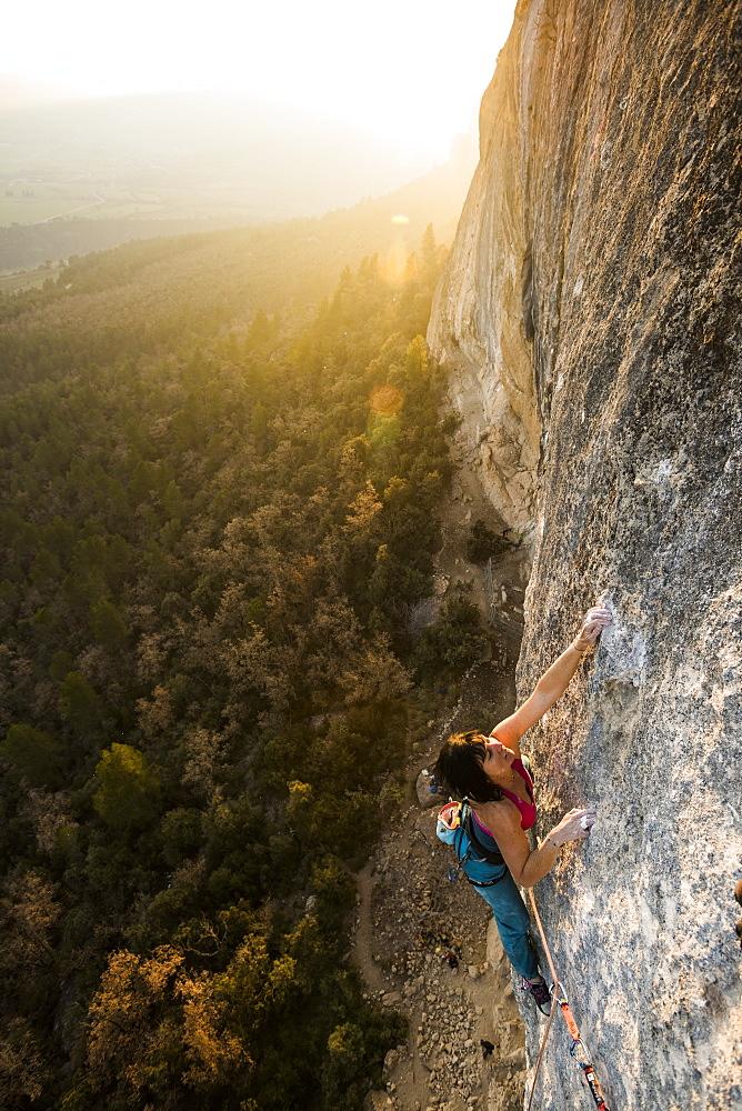 Professional climber Barbara Raudner climbing El Gran Blau 8b+/c in Oliana, Spain.
