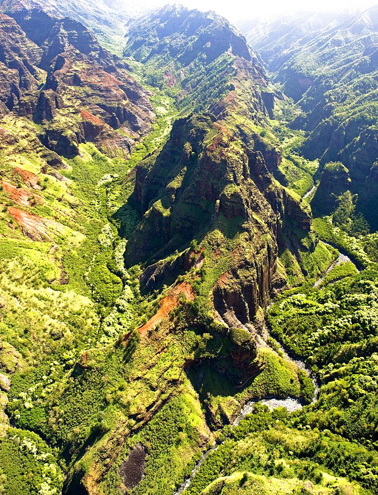 Aerial view into Koke'e formations, Kauai.
