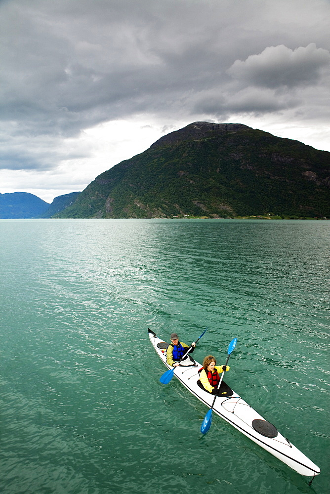 Sea Kayaking in the Sognefjord, Norway.