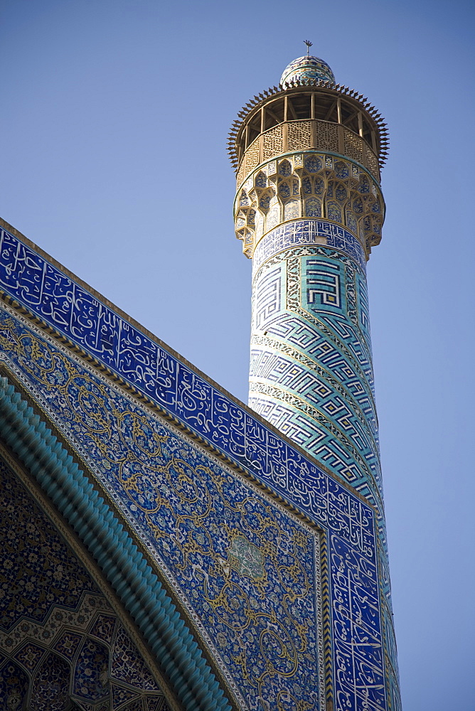 Minaret on Imam Mosque in Esfahan, Iran.