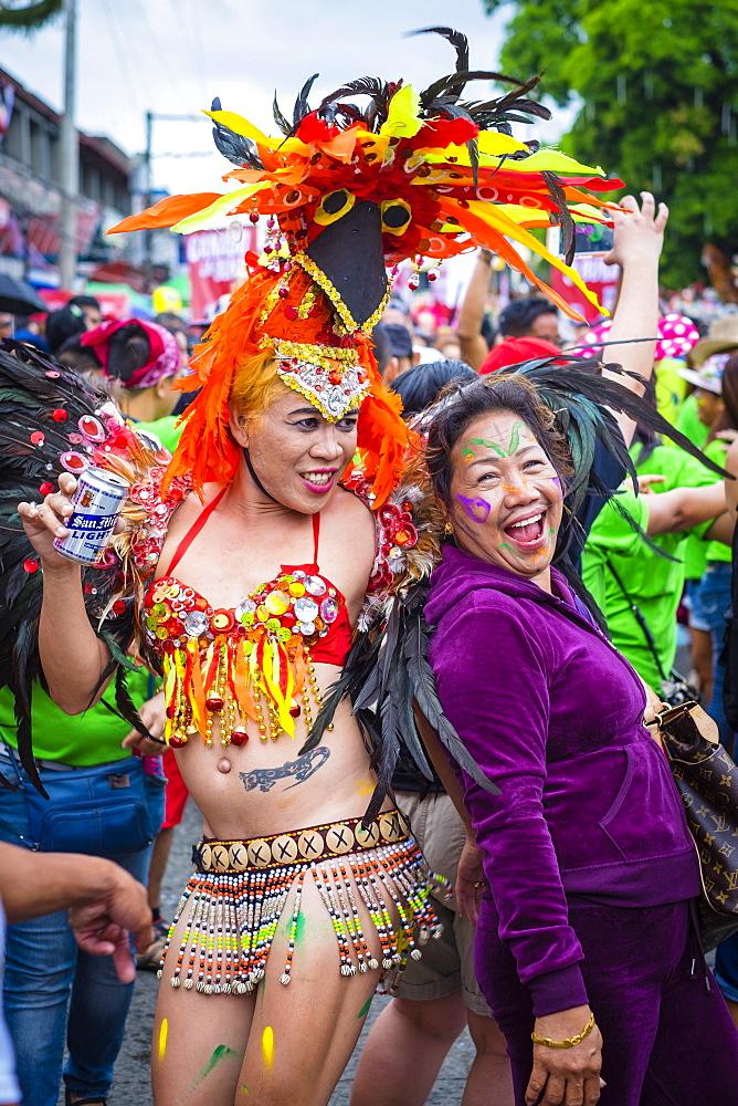 Participants Celebrating At Ati-atihan Festival, Kalibo, Aklan, Western Visayas, Philippines