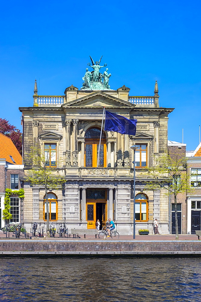 Teylers Museum Along The River Spaarne In Netherlands