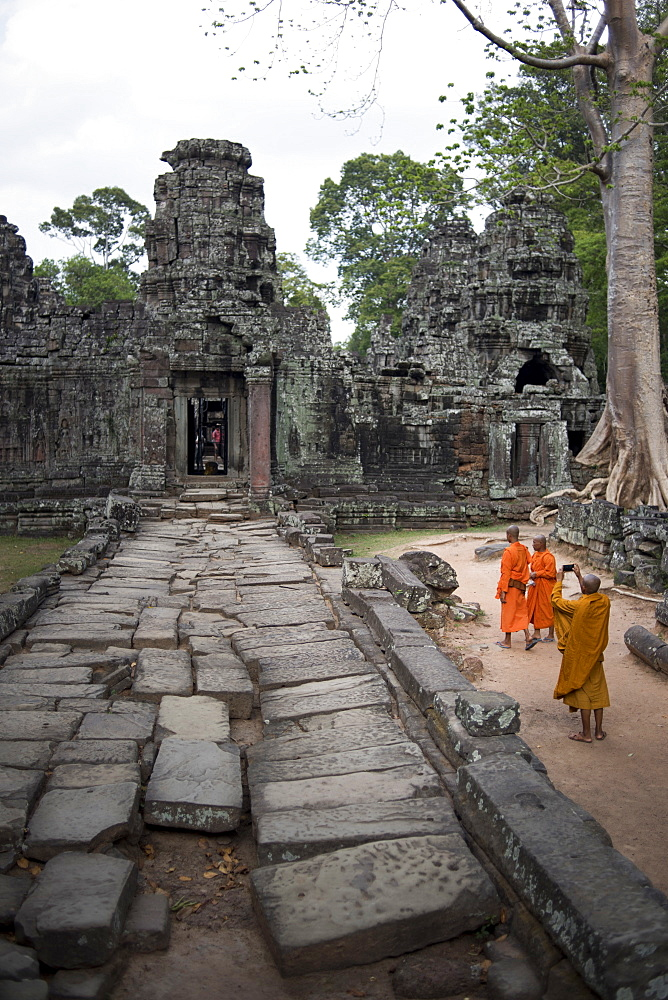 Buddhist Monks At The Banteay Kdei Temple At The Angkor Wat Complex, Siem Reap, Cambodia