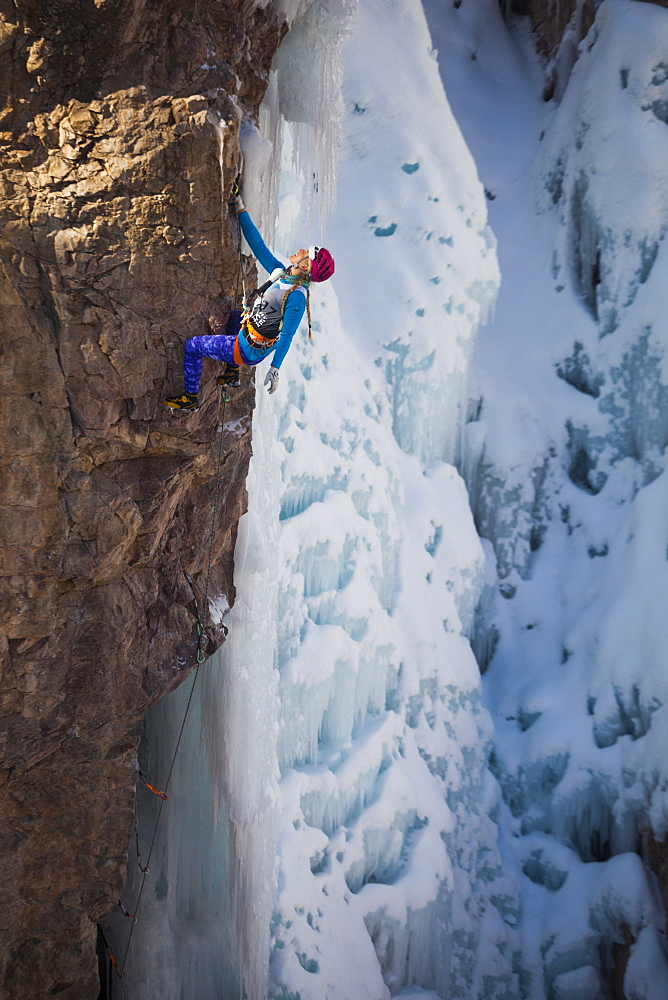 Emily Harrington competes in the 2016 Ouray Ice Festival Elite Mixed Climbing Competition at the Ice Park in Ouray, Colorado. Harrington placed fourth in the women's division.