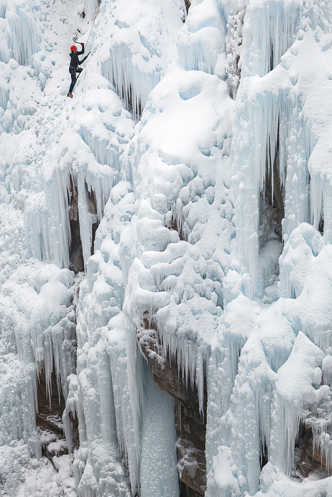An ice climber follows a route in the Lead Area above the Upper Bridge at the Ice Park in Ouray, Colorado.