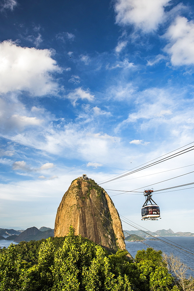 Photograph of famous cable car on Sugar Loaf Mountain in Rio de Janeiro, Brazil