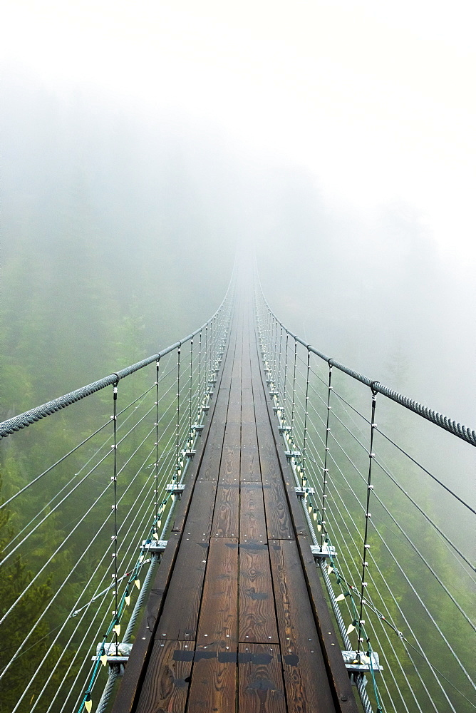 A suspension bridge extends into the mist on a rainy fall day Squamish, British Columbia. - 857-94706