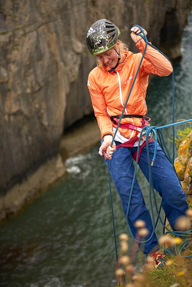 Professional climbers Jacopo Larcher, Barbara Zangerl, Roland Hemetzberger and Lara Neumeier on a climbing trip to Wales, UK.