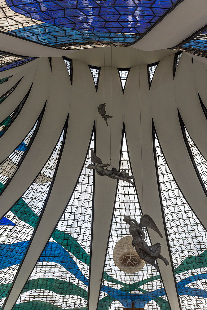 Stained glass windows inside of Brasilia Cathedral, Brasilia, Brazil