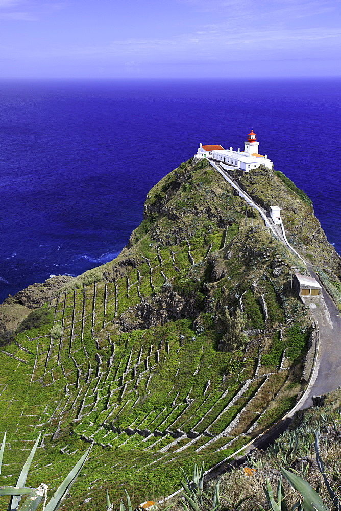 Gonçalo Velho lighthouse, Ponta do Castelo, Eastern Santa Maria Island, Azores, Portugal, Atlantic Ocean